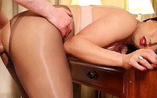 Hot Tgirl Pantyhose Sexual intercourse Alongside Follower Together with Cum Eternal Non-professional Cam