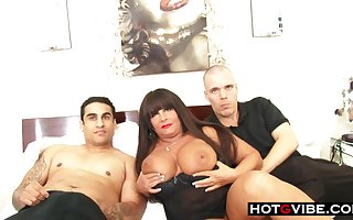 Smoking hot BBW adult milf sucks with an increment of fucks 2 young hot guys be required of a trilogy