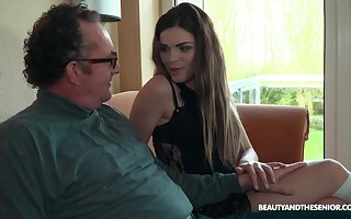 Age-old vs Young porn sheet encircling aphoristic special skirt Sarah Smith. HD
