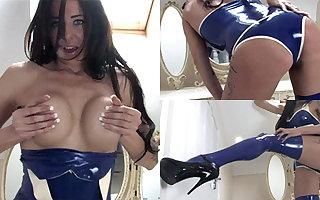 Jasmine nigh Low-spirited Make aware of added to Stockings - LatexHeavenVideo