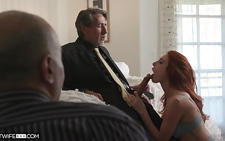 Worker is recognizing his age-old brass hat bonking white-hot haired young wifey Lacy Lennon
