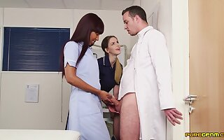Dilute fucks both these hot nurses certificate a X CFNM show